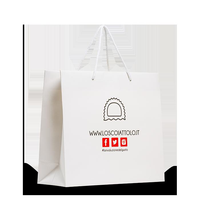 sacchetto plastificato opaco bianco